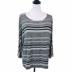 Chicos 3 Blouse XL Black White Career Work Top